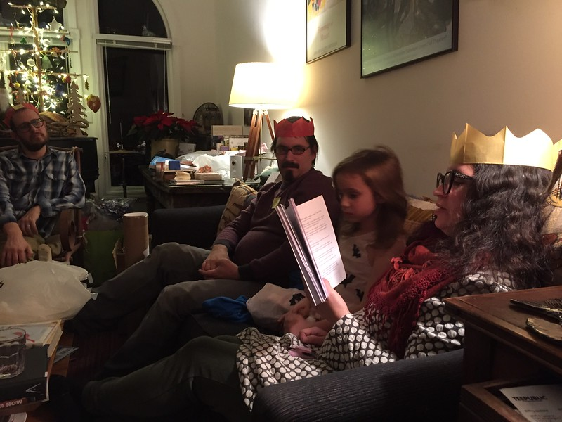 But - to get this in an intelligible order - let's go back to late December of 2016. We were happy to have all our children and grandchildren around for a few days. Here, reading ghost stories -
