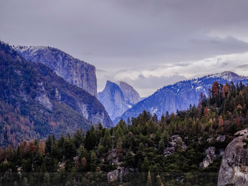 El Capitan, Half Dome, and Sentinel Dome