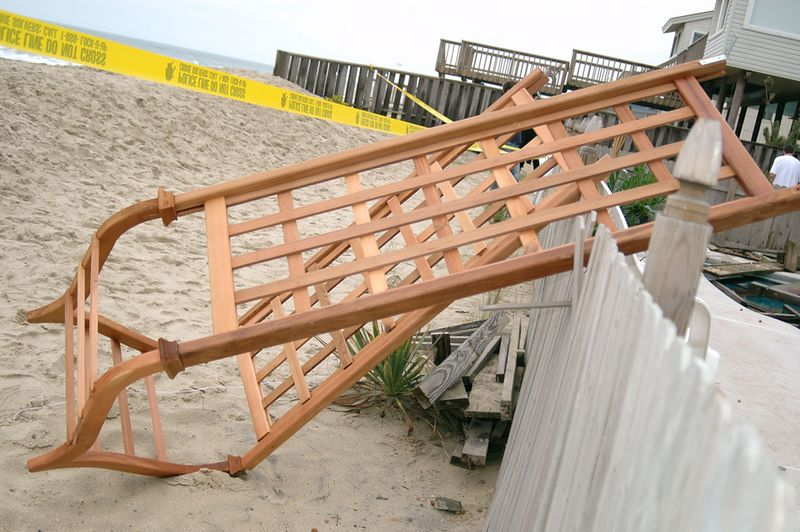 The Trellis that the kids were married under, that had been moved out onto the deck, only minutes before the collapse.