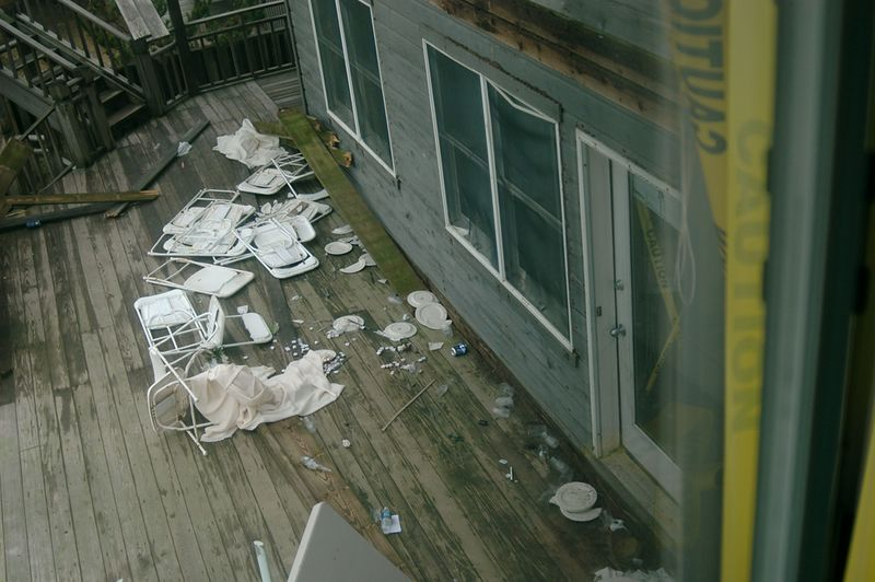 Less than 18 hours after the collapse. View from 3rd Floor- Down to snd Floor remaining Deck and into the Pool. Taken from 3rd Floor Window, towards area where my daughters, son-in-law, and daughter's fiance, and I landed.