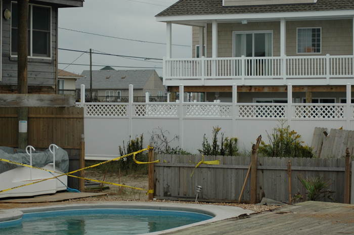 Deck now resting in pool area.