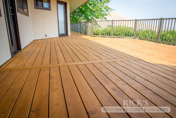 1001 - Stained Port Orford Cedar Decking with Aluminum Handrail