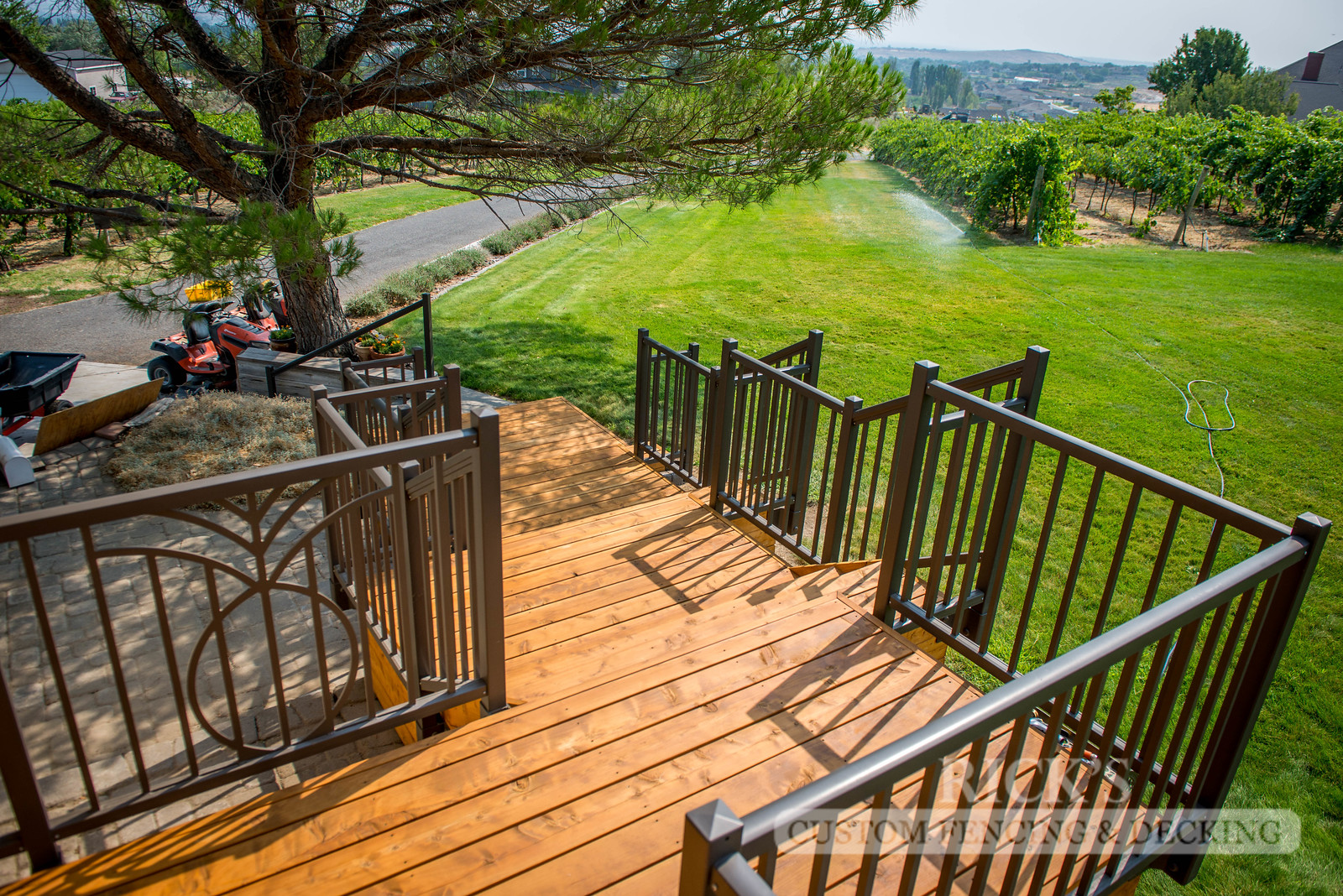 1011 - Stained Port Orford Cedar Decking with Aluminum Handrail