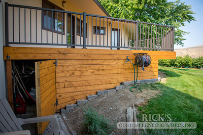 Stained Port Orford Cedar Decking with Aluminum Handrail