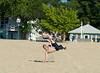Sand Soccer bicycle kick on a beautiful summer day in Michigan