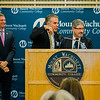 Sheriff Lew Evangelidis, Leominster Mayor Dean Mazzarella and Fitchburg Mayor Stephen DiNatale speak during the dedication of the Dr. Daniel M. Asquino Science Center at Mount Wachusett Community College on Tuesday afternoon. SENTINEL & ENTERPRISE / Ashley Green