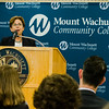 Commissioner Carol Gladstone, Division of Capital Asset Management & Maintenance, speaks during the dedication of the Dr. Daniel M. Asquino Science Center at Mount Wachusett Community College on Tuesday afternoon. SENTINEL & ENTERPRISE / Ashley Green