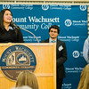 MWCC students Ifra Hassan, Josiah Irfan and Liam Scanlon speak during the dedication of the Dr. Daniel M. Asquino Science Center at Mount Wachusett Community College on Tuesday afternoon. SENTINEL & ENTERPRISE / Ashley Green