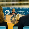 Tina Sbrega, Chair of the MWCC Board of Trustees, speaks during the dedication of the Dr. Daniel M. Asquino Science Center at Mount Wachusett Community College on Tuesday afternoon. SENTINEL & ENTERPRISE / Ashley Green