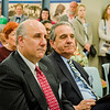 President Richard Lapidus and Former President Robert Antonucci, of Fitchburg State University, listen in during the dedication of the Dr. Daniel M. Asquino Science Center at Mount Wachusett Community College on Tuesday afternoon. SENTINEL & ENTERPRISE / Ashley Green