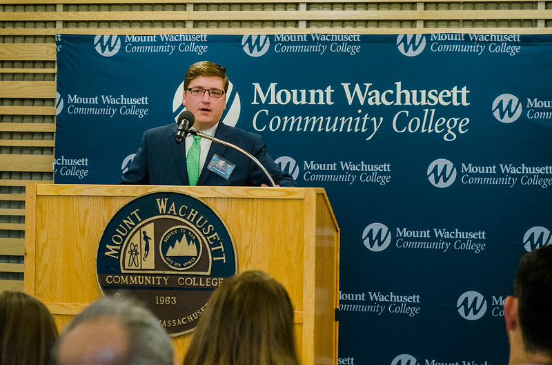 State Representative Jon Zlotnik speaks during the dedication of the Dr. Daniel M. Asquino Science Center at Mount Wachusett Community College on Tuesday afternoon. SENTINEL & ENTERPRISE / Ashley Green
