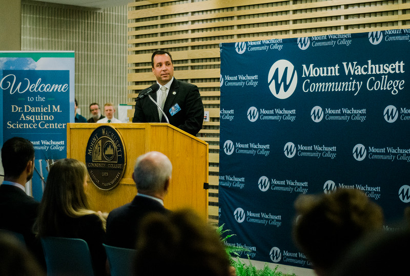 Gardner Mayor Mark Hawke speaks during the dedication of the Dr. Daniel M. Asquino Science Center at Mount Wachusett Community College on Tuesday afternoon. SENTINEL & ENTERPRISE / Ashley Green