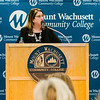 Lea Ann Scales, Vice President of External Affairs, speaks during the dedication of the Dr. Daniel M. Asquino Science Center at Mount Wachusett Community College on Tuesday afternoon. SENTINEL & ENTERPRISE / Ashley Green