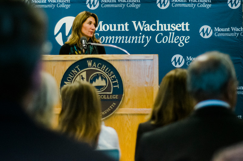 Lt. Gov. Karyn Polito speaks during the dedication of the Dr. Daniel M. Asquino Science Center at Mount Wachusett Community College on Tuesday afternoon. SENTINEL & ENTERPRISE / Ashley Green