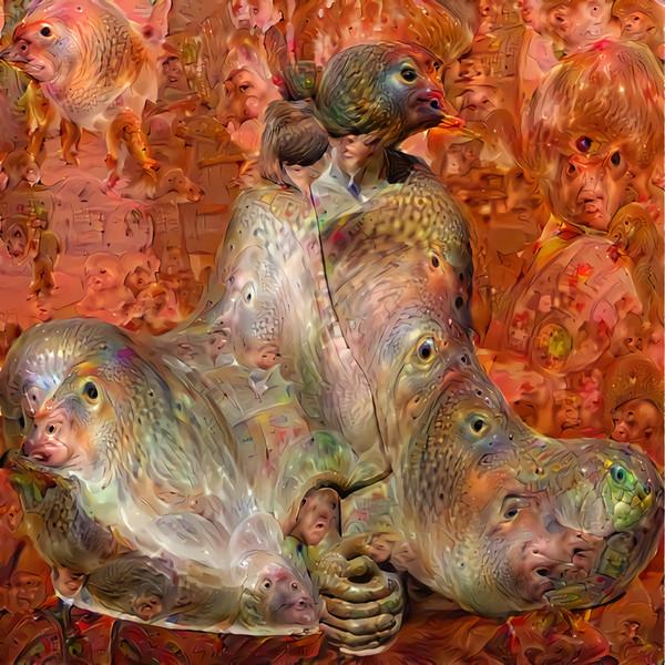 Deep Dream Native American Sculpture, the Nightmare