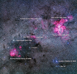 Carina-Centaurus Nebulas Mosaic (with Labels)