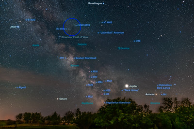 Sagitttarius and Scorpius Above the Trees (with Labels)