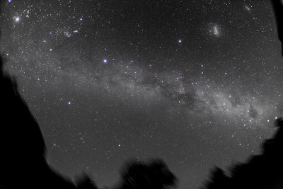 Ultrawide Angle Southern Milky Way - December 2012 - B&W Naked Eye View