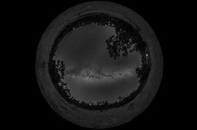 Panorama of the Southern Milky Way (Spherical)-B&W Naked Eye View