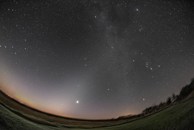 The Milky Way, Venus, and the Zodiacal Light  - B&W Naked Eye View