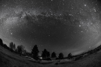 Milky Way over Quailway Cottage-B&W Naked Eye View