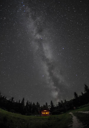 Milky Way over Log Cabin at Reesor Ranch - B&W Naked Eye View