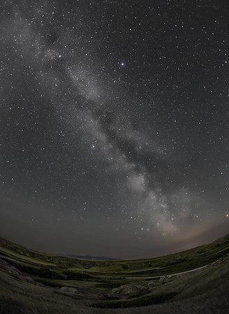 Milky Way Over Milk River - B&W Naked Eye View
