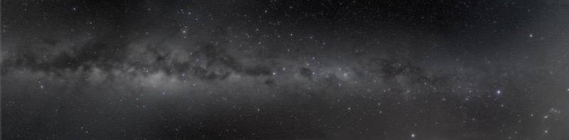 Southern Milky Way Panorama (Chile 2011) - B&W Naked Eye View