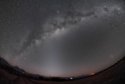 Milky Way and Zodical Light from Chile - B&W Naked Eye View