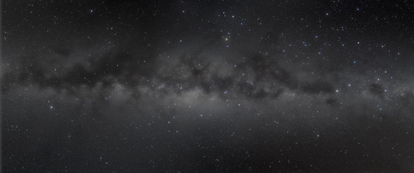 Centre of the Milky Way Panorama (2011 Chile) - B&W Naked Eye View