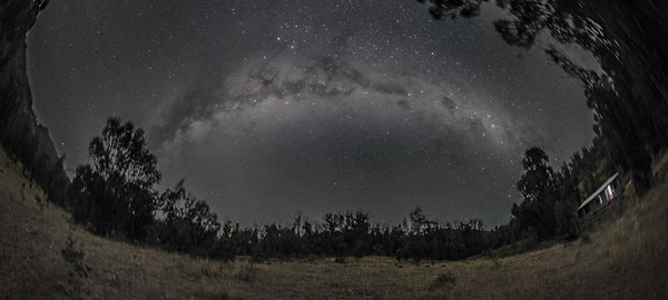 Panorama of the Southern Milky Way (Fish-eye) - B&W Naked Eye View