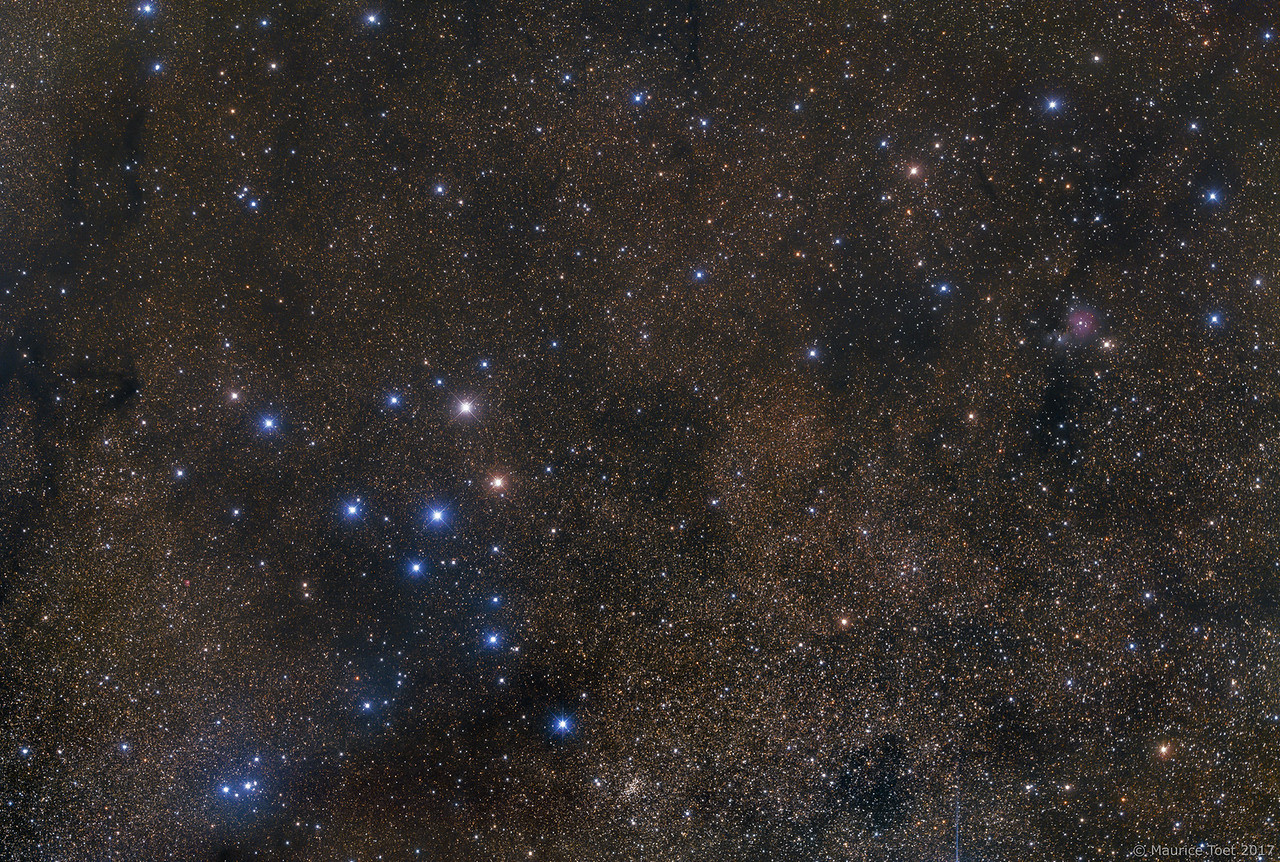 Collinder 399 (Brocchi's Cluster, the Coathanger) and Sh2-82 (Little Cocoon Nebula)