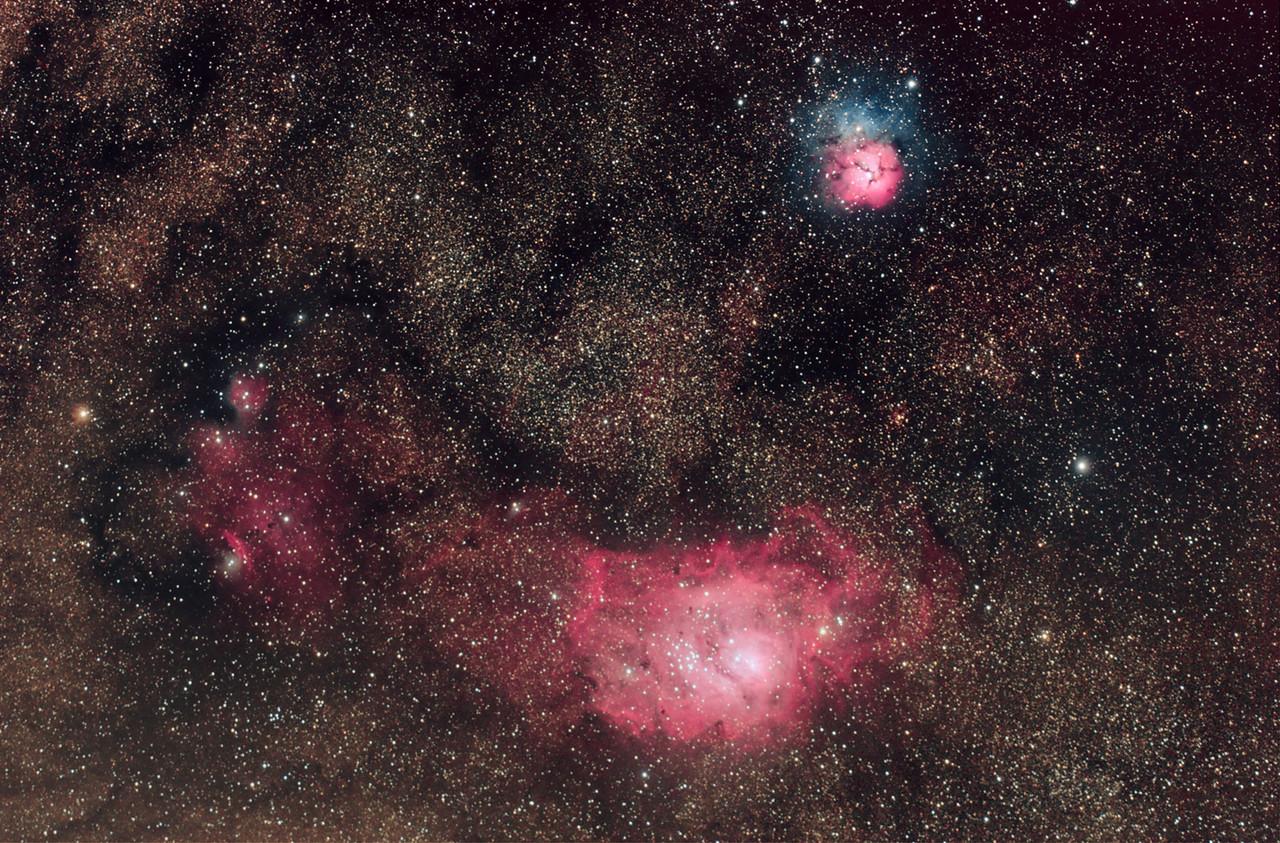 NGC 6559, M8 & M20, Lagoon and Trifid Nebula