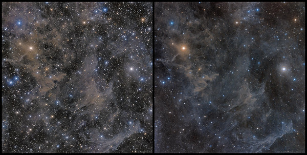 Molecular Clouds MBM 163 - 166 and LBN 569 (comparison with POSS-II data)