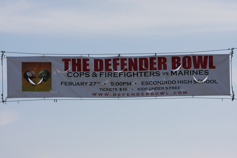 Defender Bowl Banner hanging over Broadway in Escondido.