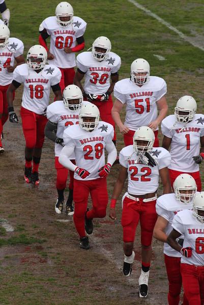 The Bulldogs take the field.