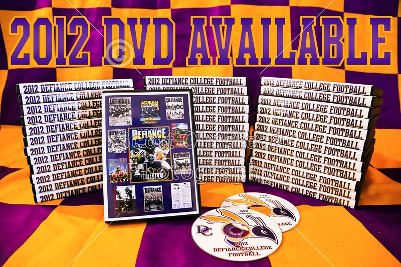 DVDs of the Defiance College 2012 Football Season are now available.  The DVD features over 2,000 photographs put to music and is approximately 34 minutes in length.  There are a total of twelve songs including one for each and every game of the season.  The cost of the DVD is $20.00 each.  To acquire a copy of the 2012 Defiance College Football DVD please contact Scott Olmstead by way of e-mail at: scottolmstead@yahoo.com