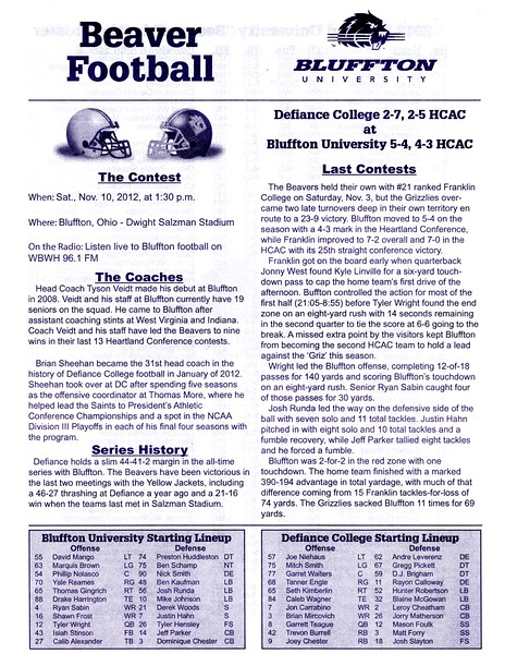 Official Game Program - The Battle for the Hammer - Saturday, November 10, 2012 - Defiance College Yellow Jackets at Bluffton University Beavers