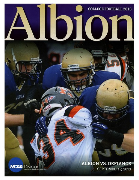 Official Game Program - Saturday, September 7, 2013 - Defiance College Yellow Jackets at Albion College Britons