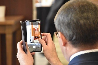 Kurt Martens, one of our panelists, grabs a photo of Fr. Dehon
