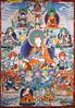 Guru Rinpoche (Padmasambhava) with consorts and emanations - Palyul tradition - KPC Thanka