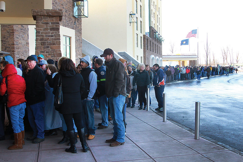 Spencer Tulis/Finger Lakes Times<br /> A long line of people stood outdoors in the cold at the entrance to the del Lago Resort & Casino Wednesday morning waiting for the much anticipated opening of the $440 million facilty. The hotel is expected to open in the summer. A rbbon cutting and ceremony the featured Gov. Andrew Cuomo started the day prior to the doors opening to patrons.