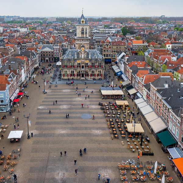 Aerial view of Delft Market Square