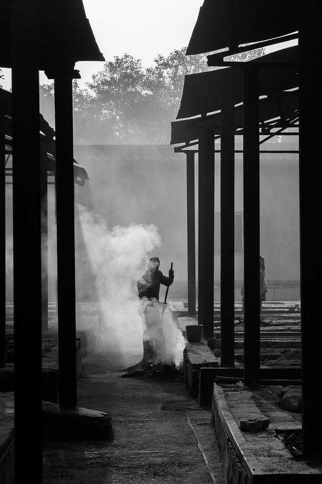 Cremation plinths, Nigam Bodg Ghat