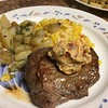 Blade Steak with Dried Tomato-Oregano Butter with smoky creamed corn and pan-roasted potatoes