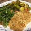 Parmesan-Crusted Salmon with fresh arugula salad and basil-balsamic vinaigrette