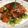 Teriyaki Ginger-Glazed Salmon with stir-fried bok choy and carrots
