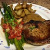 Bone-In Pork Chop with Honey Mustard Cream  with miso-roasted fingerling potatoes and asparagus