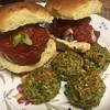 Mozzarella-Stuffed Meatball Sliders with broccoli tots