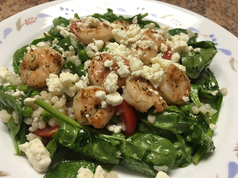 Lemon-Shrimp Couscous with spinach, peas, radish, and feta